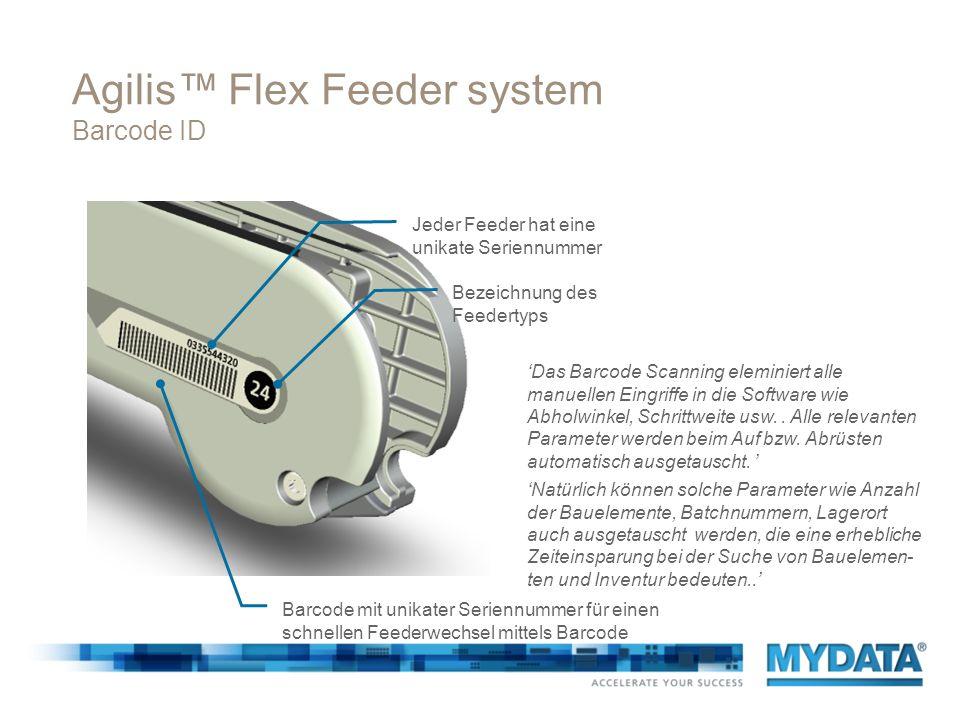 Agilis Flex Feeder system elektronische Identifikation elektronische ID wird automatisch durch die Software registriert die elektronische ID erlaubt es der Software automatisch zu analysieren sind die notwendigen Artikel auf der Maschine oder auf externen Feedern.