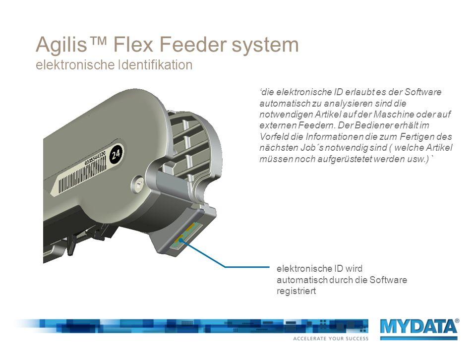 Agilis Flex Feeder system elektronische Identifikation elektronische ID wird automatisch durch die Software registriert die elektronische ID erlaubt e