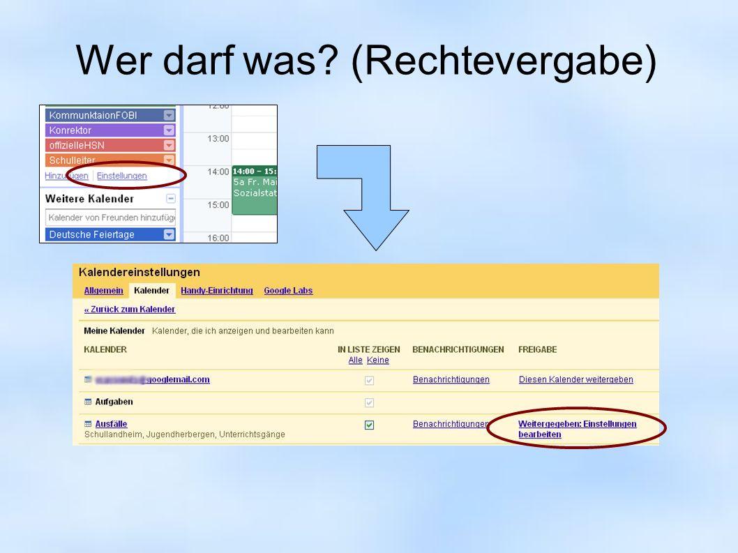 Möglichkeiten der Rechtevergabe: Kalender Ausfälle Beispiel: Auf keinen Fall !!!
