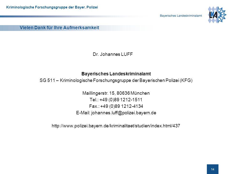 14 Kriminologische Forschungsgruppe der Bayer.Polizei Vielen Dank für Ihre Aufmerksamkeit Dr.