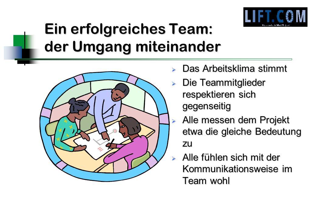 Ein erfolgreiches Team: der Umgang miteinander Das Arbeitsklima stimmt Das Arbeitsklima stimmt Die Teammitglieder respektieren sich gegenseitig Die Te