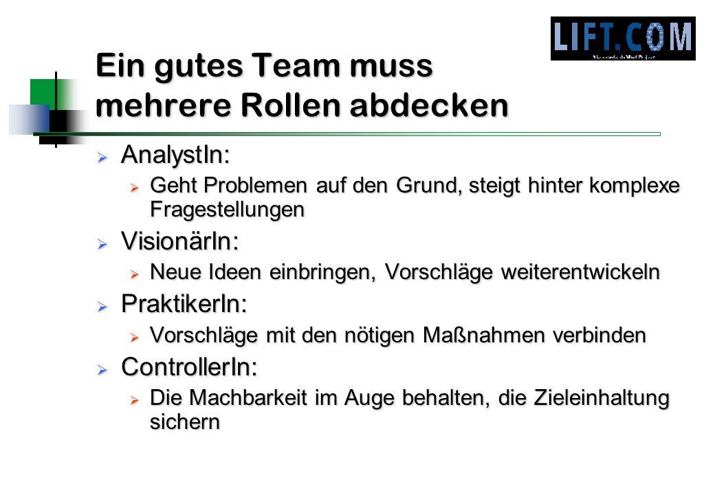 Ein gutes Team muss mehrere Rollen abdecken AnalystIn: AnalystIn: Geht Problemen auf den Grund, steigt hinter komplexe Fragestellungen Geht Problemen
