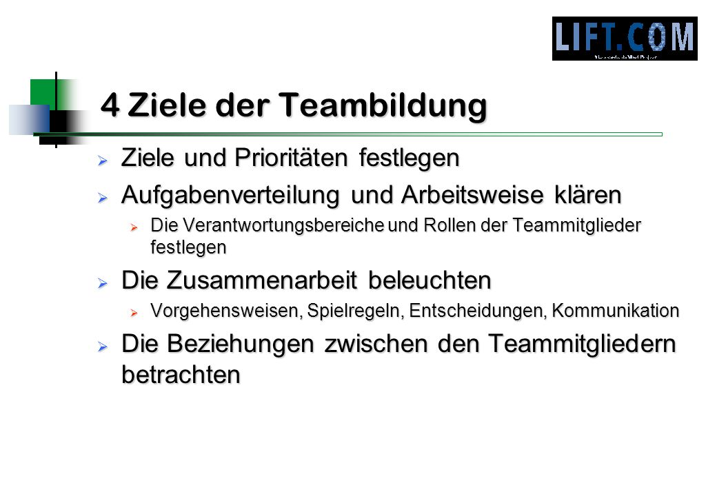 4 Ziele der Teambildung Ziele und Prioritäten festlegen Ziele und Prioritäten festlegen Aufgabenverteilung und Arbeitsweise klären Aufgabenverteilung