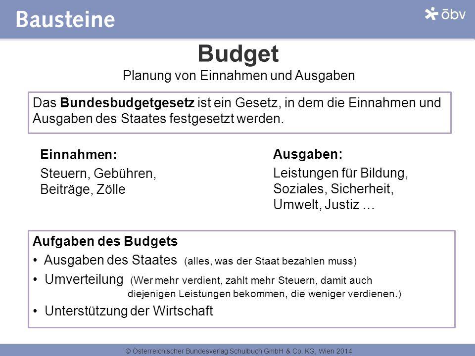 © Österreichischer Bundesverlag Schulbuch GmbH & Co. KG, Wien 2014 Budget Einnahmen: Steuern, Gebühren, Beiträge, Zölle Ausgaben: Leistungen für Bildu