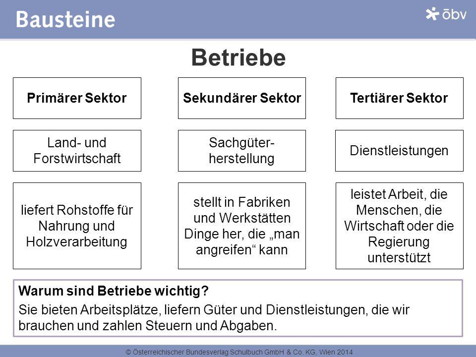 © Österreichischer Bundesverlag Schulbuch GmbH & Co. KG, Wien 2014 Betriebe Primärer Sektor Land- und Forstwirtschaft liefert Rohstoffe für Nahrung un