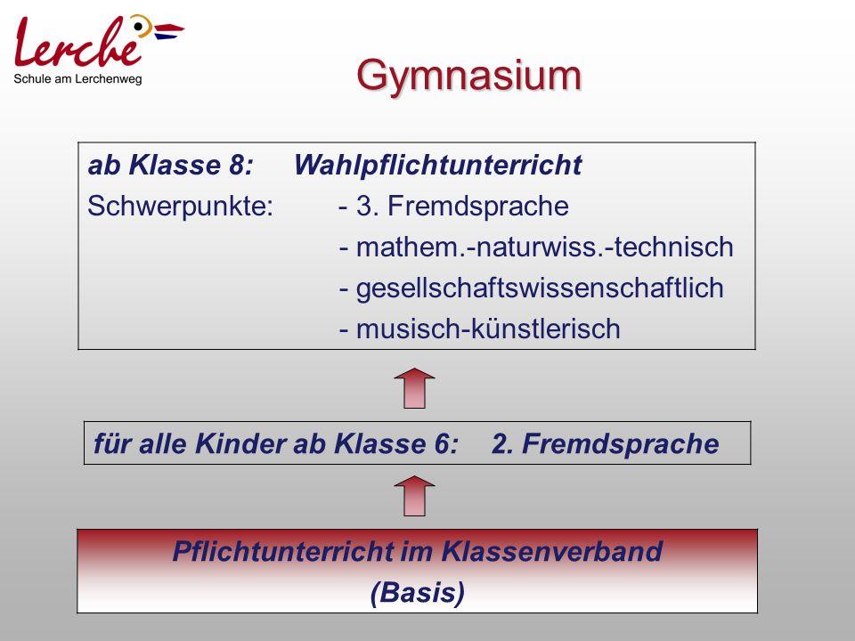 Gymnasium Pflichtunterricht im Klassenverband (Basis) für alle Kinder ab Klasse 6: 2.