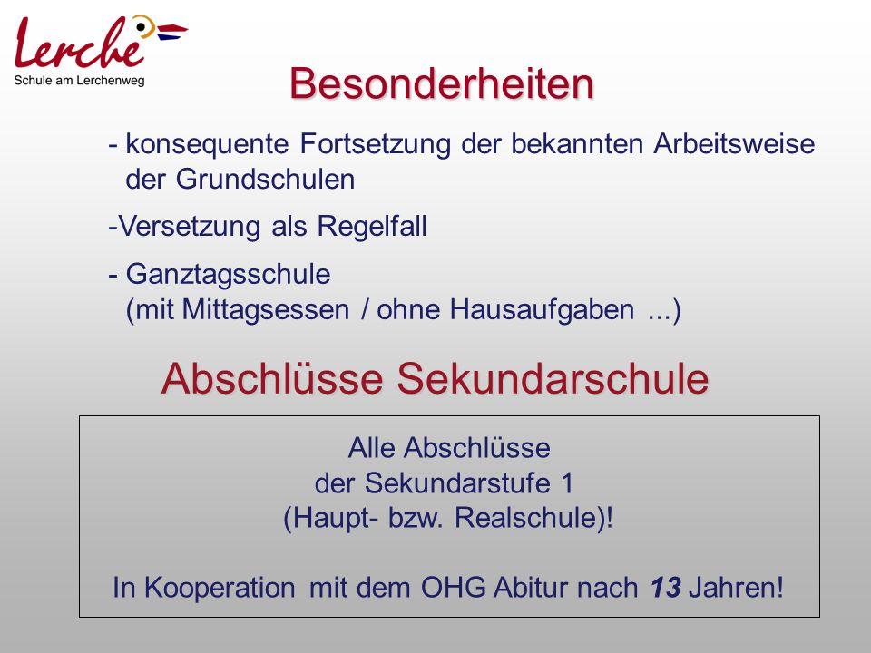 Abschlüsse Sekundarschule Alle Abschlüsse der Sekundarstufe 1 (Haupt- bzw.