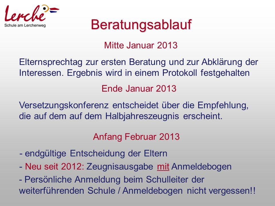 Mitte Januar 2013 Elternsprechtag zur ersten Beratung und zur Abklärung der Interessen.