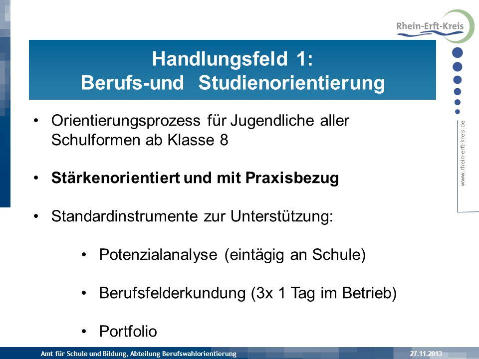 www.rhein-erft-kreis.de 27.11.2013 Prozess der schulischen Berufsorientierung Amt für Schule und Bildung, Abteilung Berufswahlorientierung