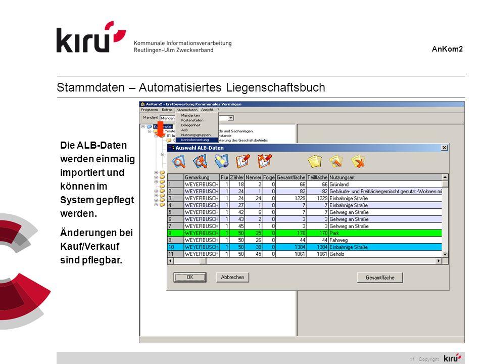 AnKom2 11 Copyright Die ALB-Daten werden einmalig importiert und können im System gepflegt werden. Änderungen bei Kauf/Verkauf sind pflegbar. Stammdat