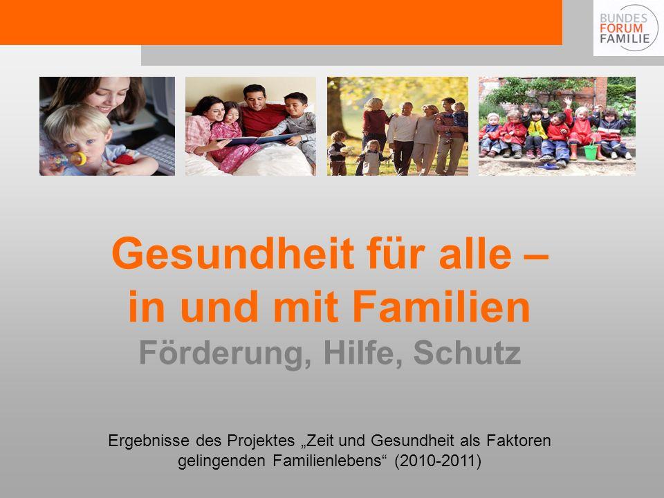 Gesundheit für alle – in und mit Familien Förderung, Hilfe, Schutz Ergebnisse des Projektes Zeit und Gesundheit als Faktoren gelingenden Familienlebens (2010-2011)