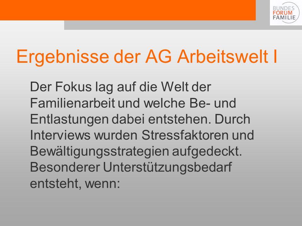 Ergebnisse der AG Arbeitswelt I Der Fokus lag auf die Welt der Familienarbeit und welche Be- und Entlastungen dabei entstehen.