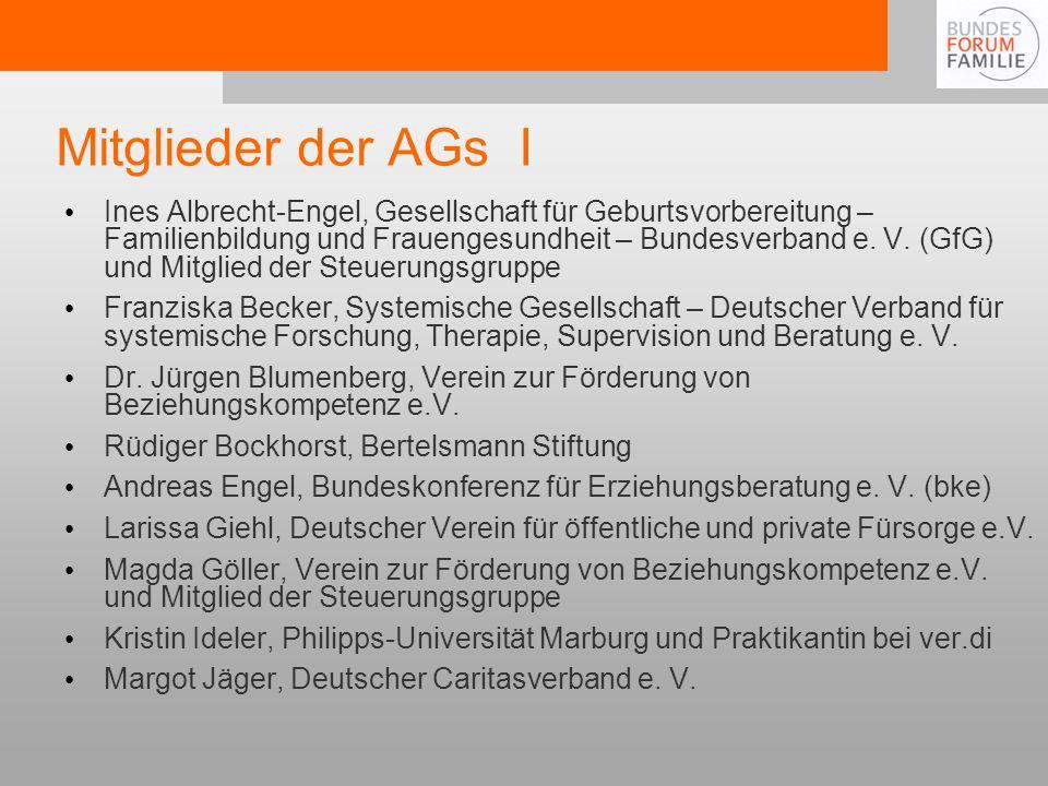 Mitglieder der AGs I Ines Albrecht-Engel, Gesellschaft für Geburtsvorbereitung – Familienbildung und Frauengesundheit – Bundesverband e.