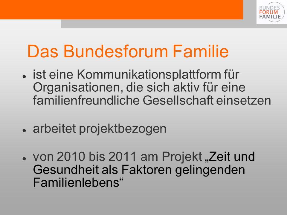 Das Bundesforum Familie ist eine Kommunikationsplattform für Organisationen, die sich aktiv für eine familienfreundliche Gesellschaft einsetzen arbeitet projektbezogen von 2010 bis 2011 am Projekt Zeit und Gesundheit als Faktoren gelingenden Familienlebens
