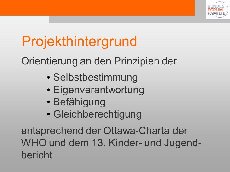 Projekthintergrund Orientierung an den Prinzipien der entsprechend der Ottawa-Charta der WHO und dem 13.