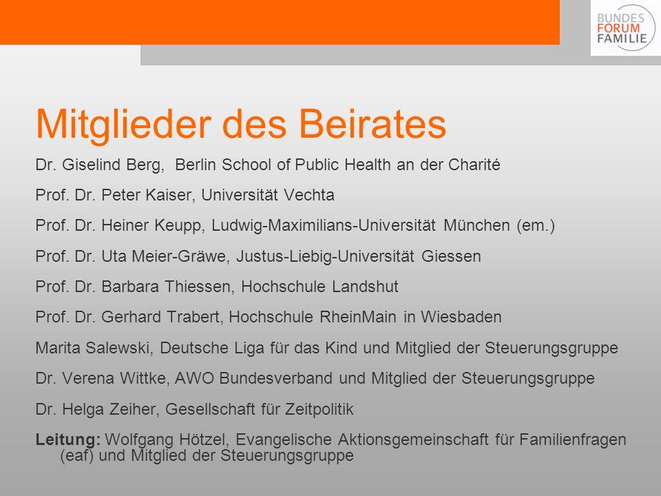 Mitglieder des Beirates Dr.Giselind Berg, Berlin School of Public Health an der Charité Prof.