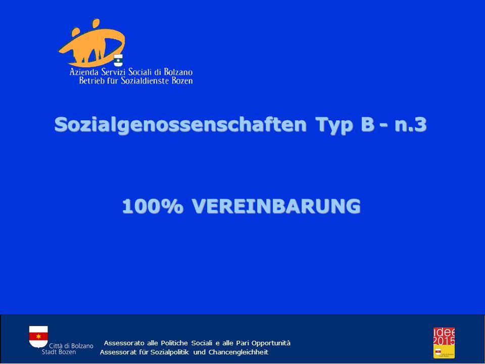 Assessorato alle Politiche Sociali e alle Pari Opportunità Assessorat für Sozialpolitik und Chancengleichheit Sozialgenossenschaften Typ B- n.3 Sozial