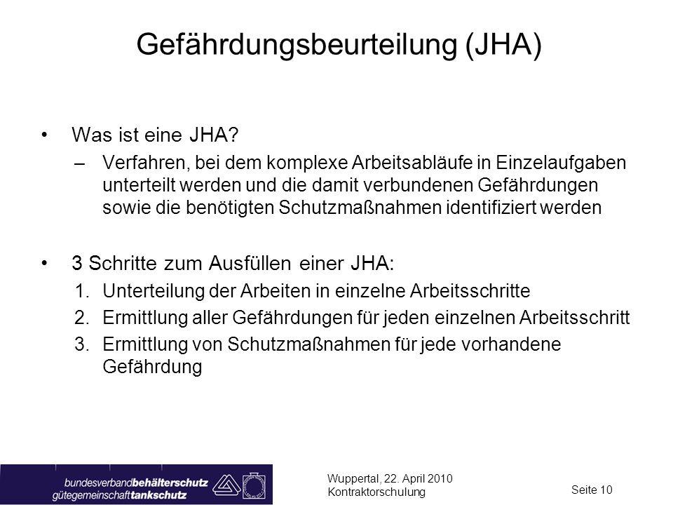 Wuppertal, 22. April 2010 Kontraktorschulung Seite 10 Gefährdungsbeurteilung (JHA) Was ist eine JHA? –Verfahren, bei dem komplexe Arbeitsabläufe in Ei