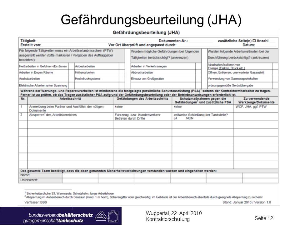 Wuppertal, 22. April 2010 Kontraktorschulung Seite 12 Gefährdungsbeurteilung (JHA)