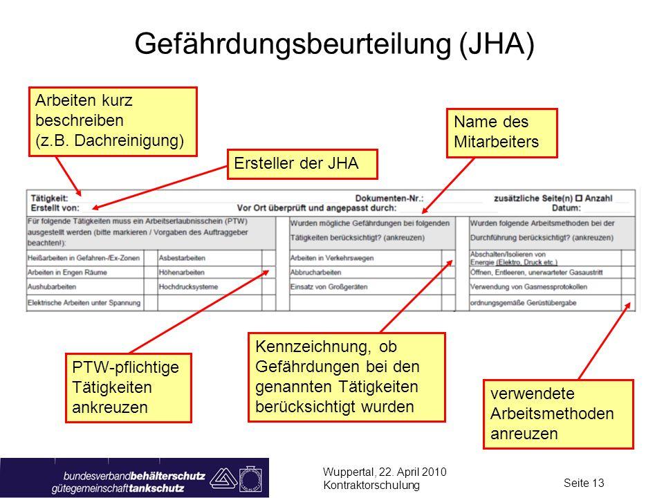 Wuppertal, 22. April 2010 Kontraktorschulung Seite 13 Gefährdungsbeurteilung (JHA) Kennzeichnung, ob Gefährdungen bei den genannten Tätigkeiten berück
