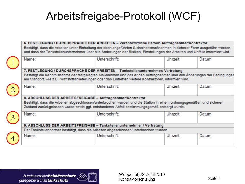 Wuppertal, 22. April 2010 Kontraktorschulung Seite 8 Arbeitsfreigabe-Protokoll (WCF) 1 3 4 2