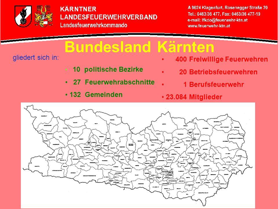 Bundesland Kärnten gliedert sich in: 10 politische Bezirke 27 Feuerwehrabschnitte 132 Gemeinden 400 Freiwillige Feuerwehren 20 Betriebsfeuerwehren 1 B