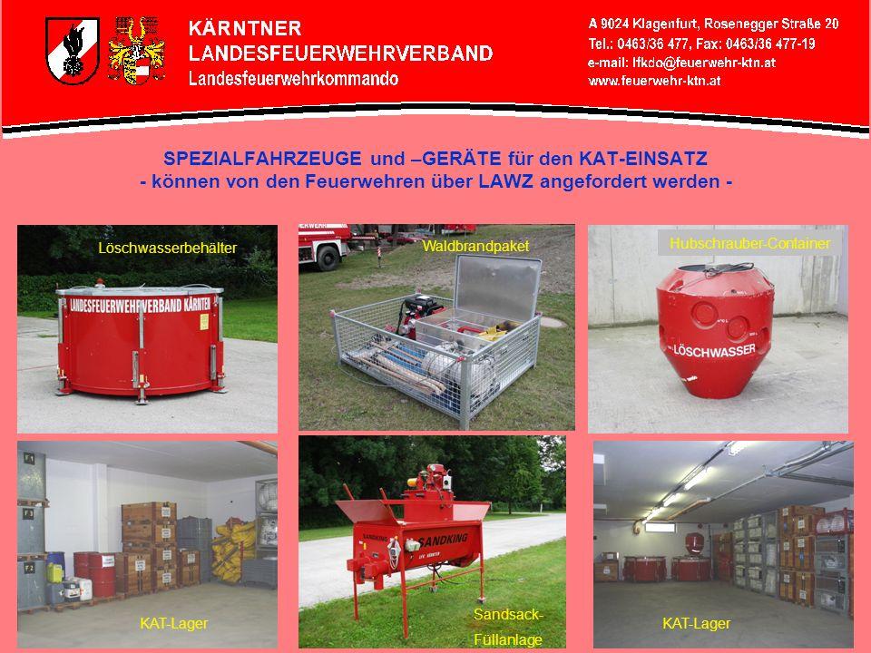 SPEZIALFAHRZEUGE und –GERÄTE für den KAT-EINSATZ - können von den Feuerwehren über LAWZ angefordert werden - Ölsperren-AnhängerZillen-Anhänger Notstromaggregat Boot Kärnten