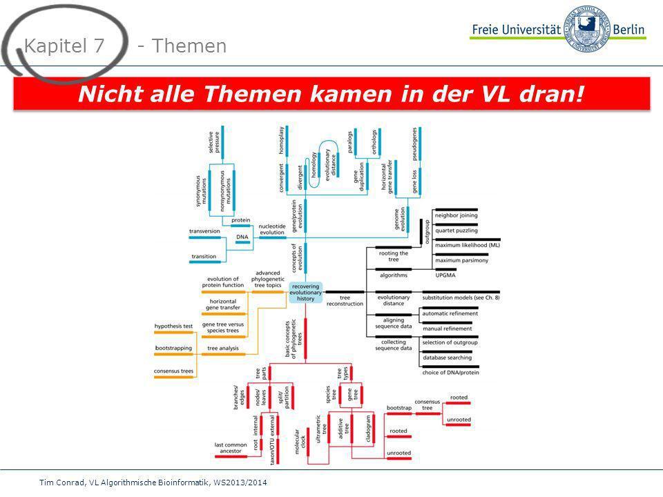 Tim Conrad, VL Algorithmische Bioinformatik, WS2013/2014 Kapitel 7 - Themen Nicht alle Themen kamen in der VL dran!