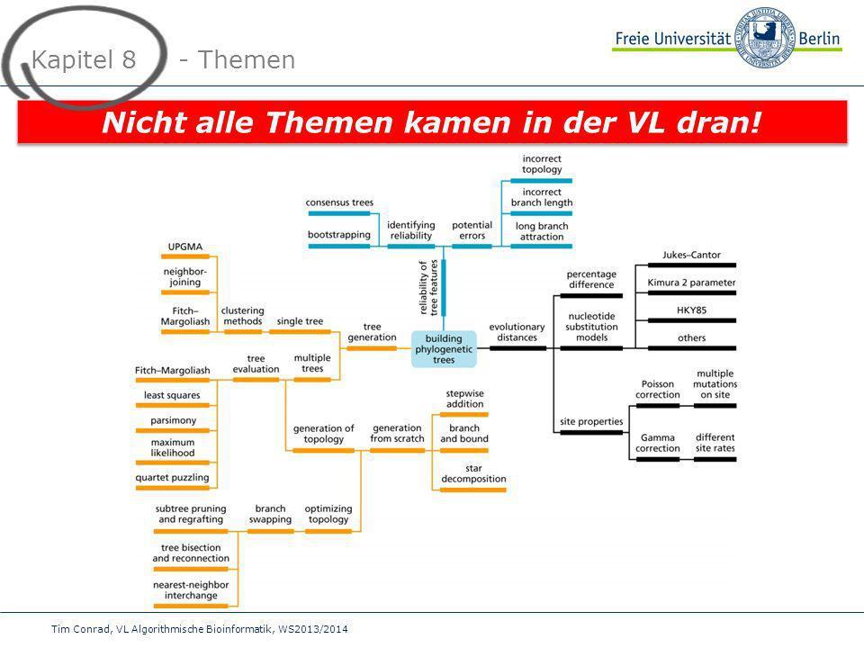 Tim Conrad, VL Algorithmische Bioinformatik, WS2013/2014 Kapitel 8 - Themen Nicht alle Themen kamen in der VL dran!