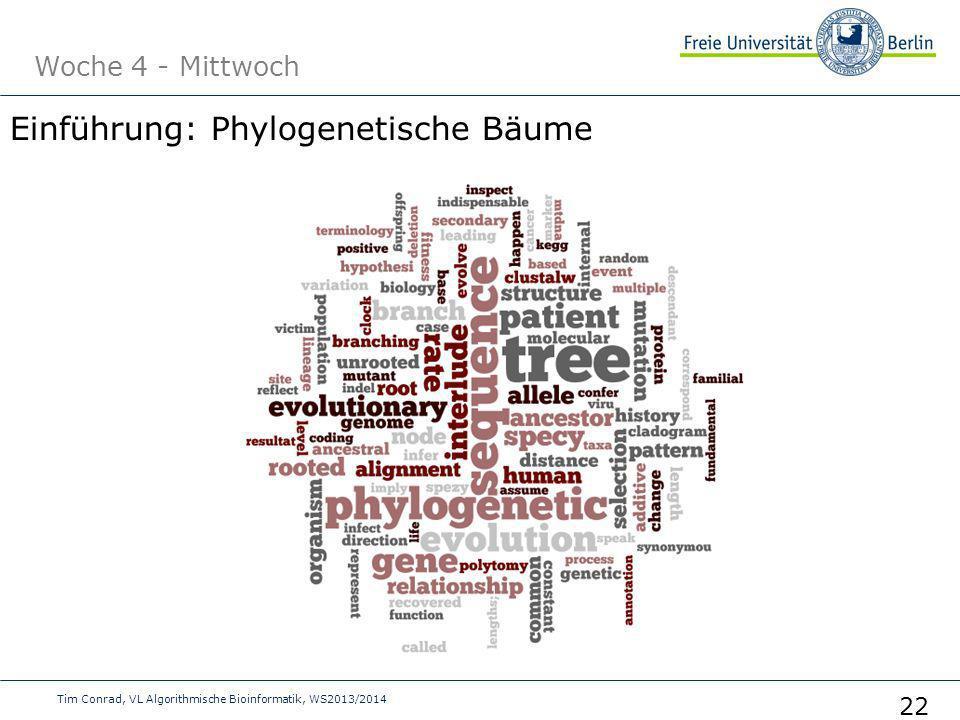 Woche 4 - Mittwoch Tim Conrad, VL Algorithmische Bioinformatik, WS2013/2014 22 Einführung: Phylogenetische Bäume