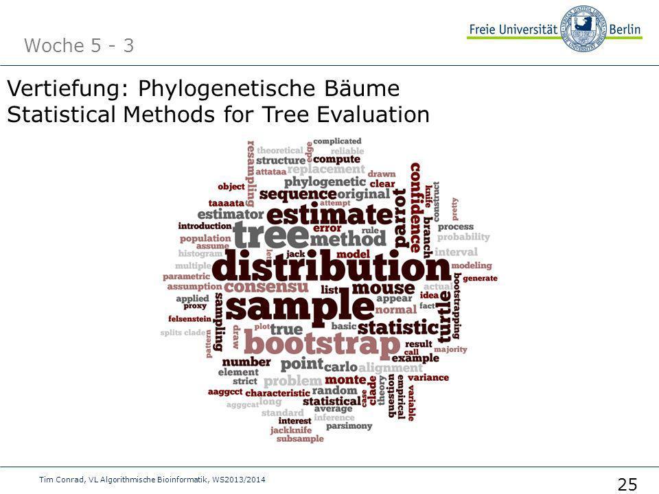Woche 5 - 3 Tim Conrad, VL Algorithmische Bioinformatik, WS2013/2014 25 Vertiefung: Phylogenetische Bäume Statistical Methods for Tree Evaluation