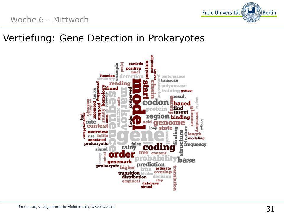 Woche 6 - Mittwoch Tim Conrad, VL Algorithmische Bioinformatik, WS2013/2014 31 Vertiefung: Gene Detection in Prokaryotes
