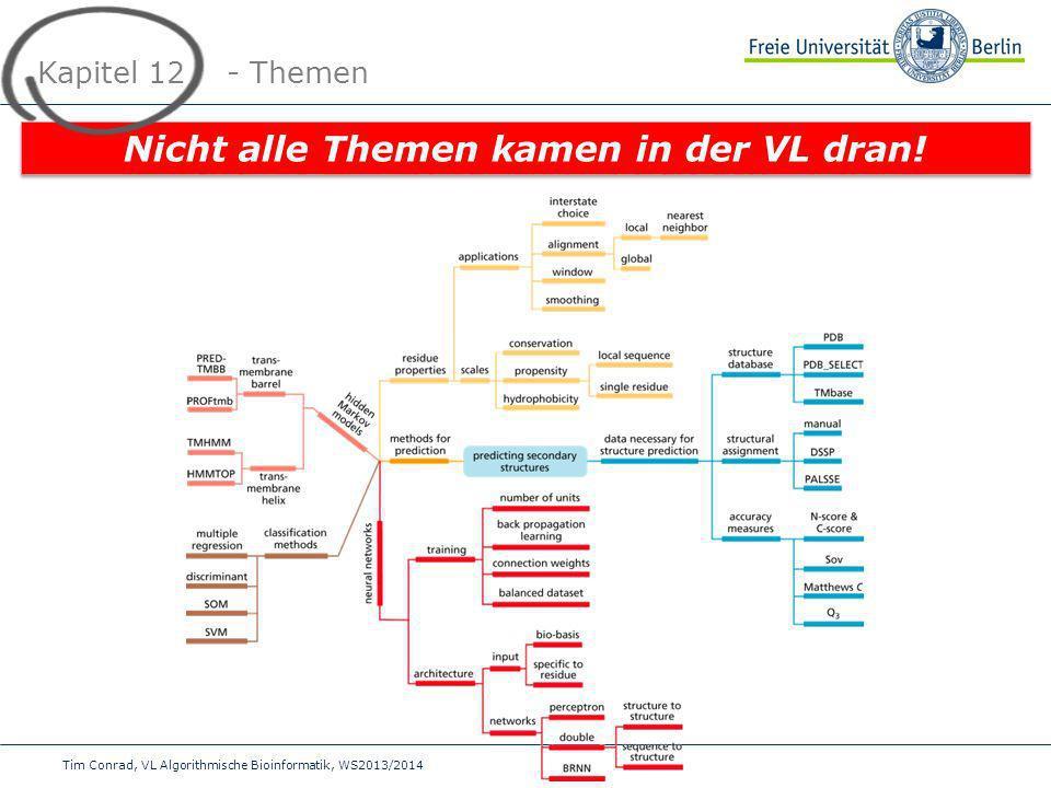 Tim Conrad, VL Algorithmische Bioinformatik, WS2013/2014 Kapitel 12 - Themen Nicht alle Themen kamen in der VL dran!