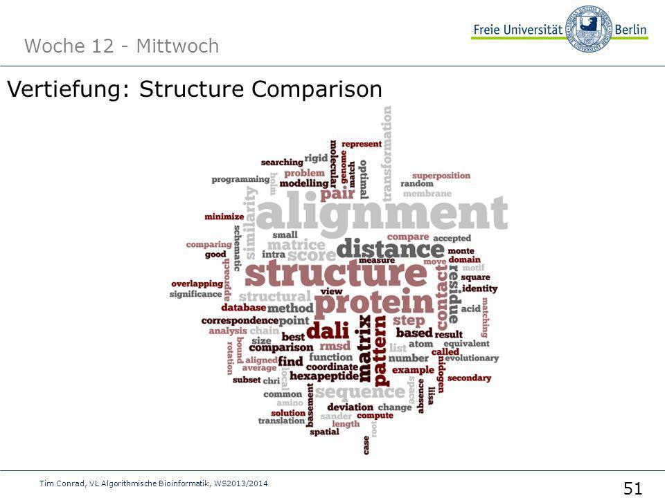 Woche 12 - Mittwoch Tim Conrad, VL Algorithmische Bioinformatik, WS2013/2014 51 Vertiefung: Structure Comparison