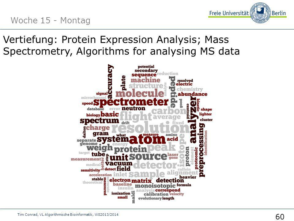 Woche 15 - Montag Tim Conrad, VL Algorithmische Bioinformatik, WS2013/2014 60 Vertiefung: Protein Expression Analysis; Mass Spectrometry, Algorithms for analysing MS data