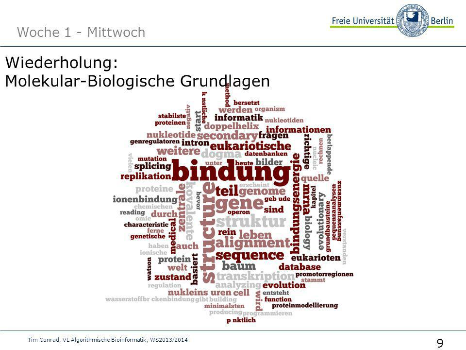 Woche 1 - Mittwoch Tim Conrad, VL Algorithmische Bioinformatik, WS2013/2014 9 Wiederholung: Molekular-Biologische Grundlagen