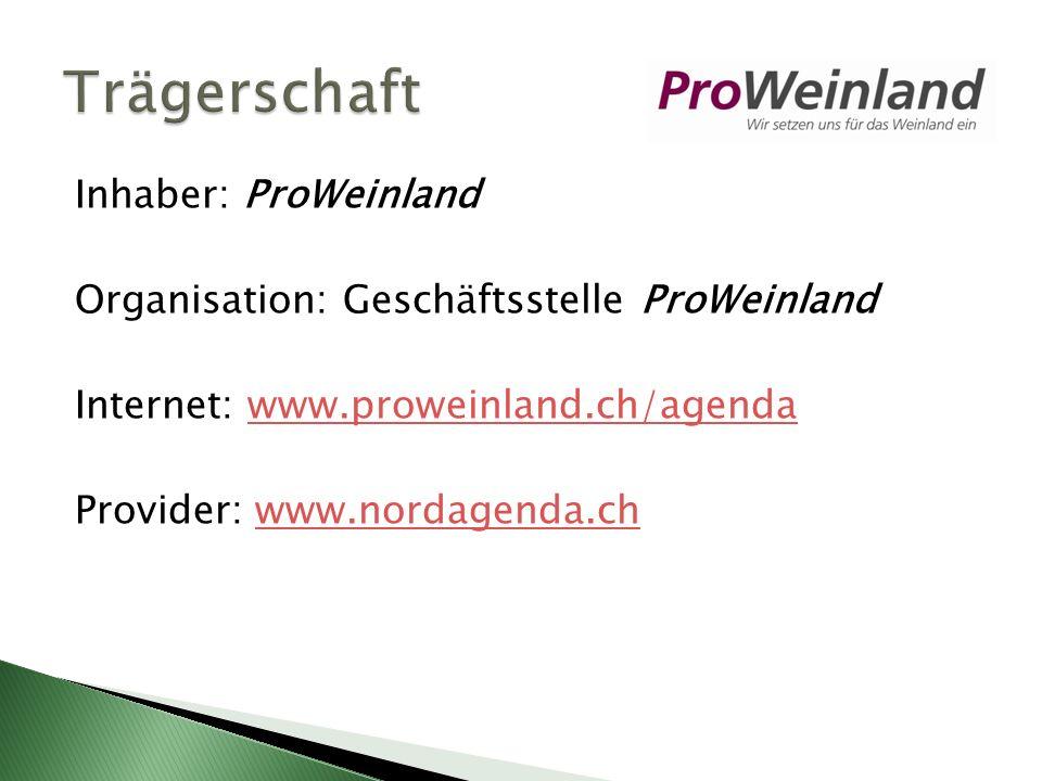 Inhaber: ProWeinland Organisation: Geschäftsstelle ProWeinland Internet: www.proweinland.ch/agendawww.proweinland.ch/agenda Provider: www.nordagenda.chwww.nordagenda.ch