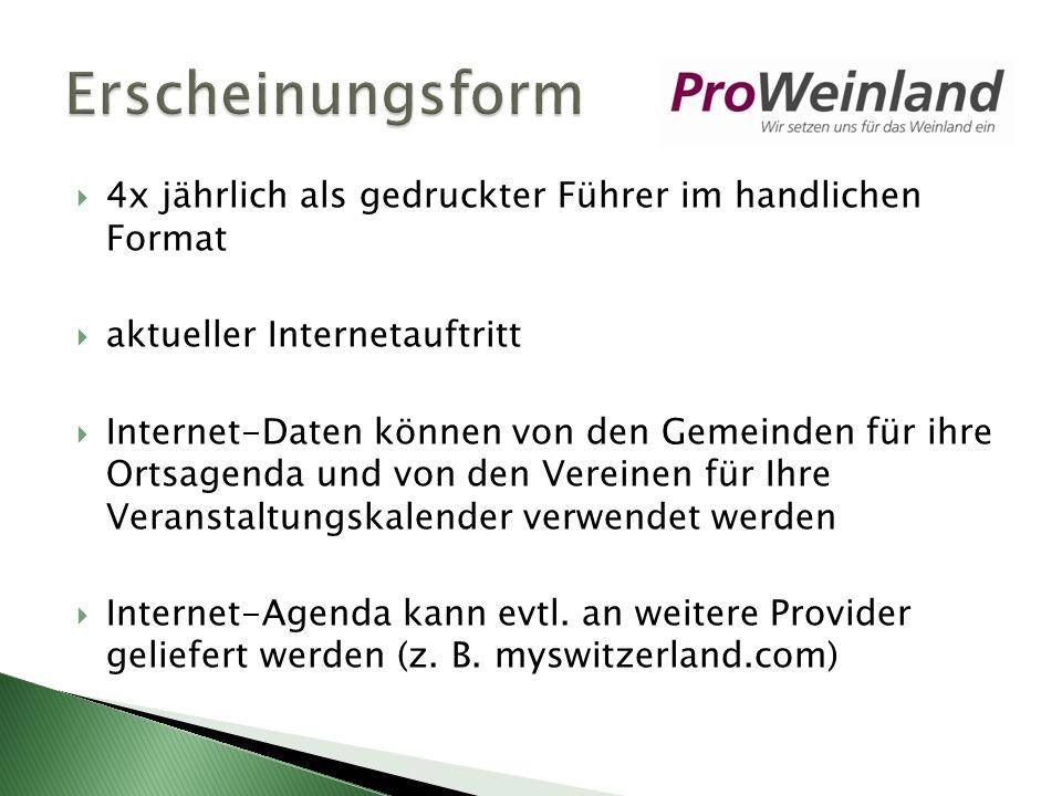 4x jährlich als gedruckter Führer im handlichen Format aktueller Internetauftritt Internet-Daten können von den Gemeinden für ihre Ortsagenda und von den Vereinen für Ihre Veranstaltungskalender verwendet werden Internet-Agenda kann evtl.