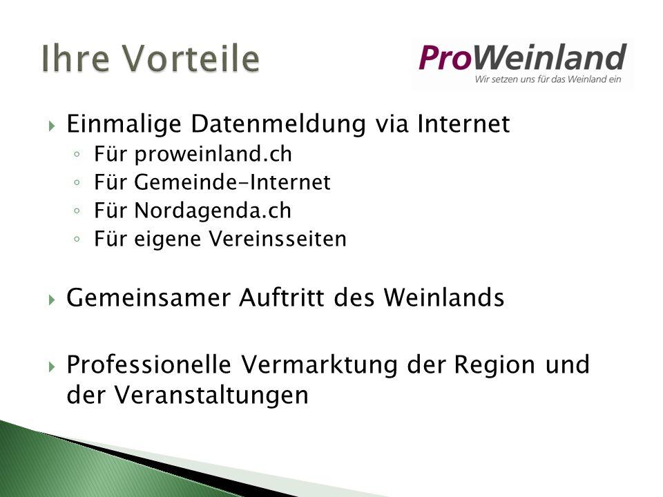 Einmalige Datenmeldung via Internet Für proweinland.ch Für Gemeinde-Internet Für Nordagenda.ch Für eigene Vereinsseiten Gemeinsamer Auftritt des Weinlands Professionelle Vermarktung der Region und der Veranstaltungen