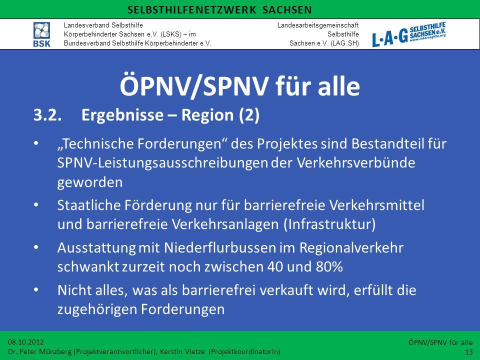ÖPNV/SPNV für alle 3.2.Ergebnisse – Region (2) Technische Forderungen des Projektes sind Bestandteil für SPNV-Leistungsausschreibungen der Verkehrsver