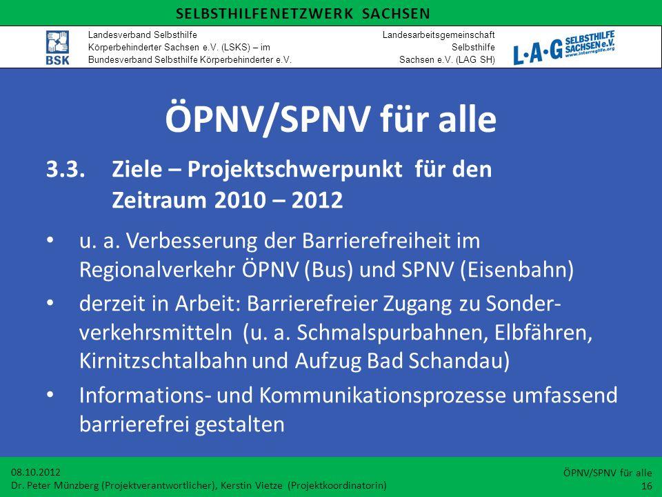 ÖPNV/SPNV für alle 3.3.Ziele – Projektschwerpunkt für den Zeitraum 2010 – 2012 u. a. Verbesserung der Barrierefreiheit im Regionalverkehr ÖPNV (Bus) u