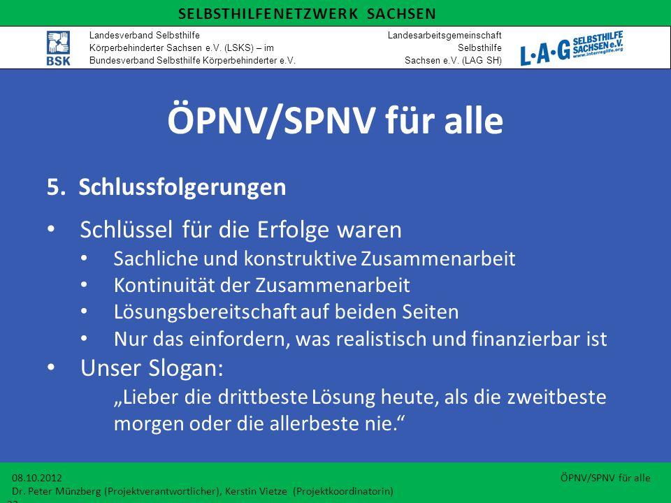 ÖPNV/SPNV für alle 5. Schlussfolgerungen Schlüssel für die Erfolge waren Sachliche und konstruktive Zusammenarbeit Kontinuität der Zusammenarbeit Lösu
