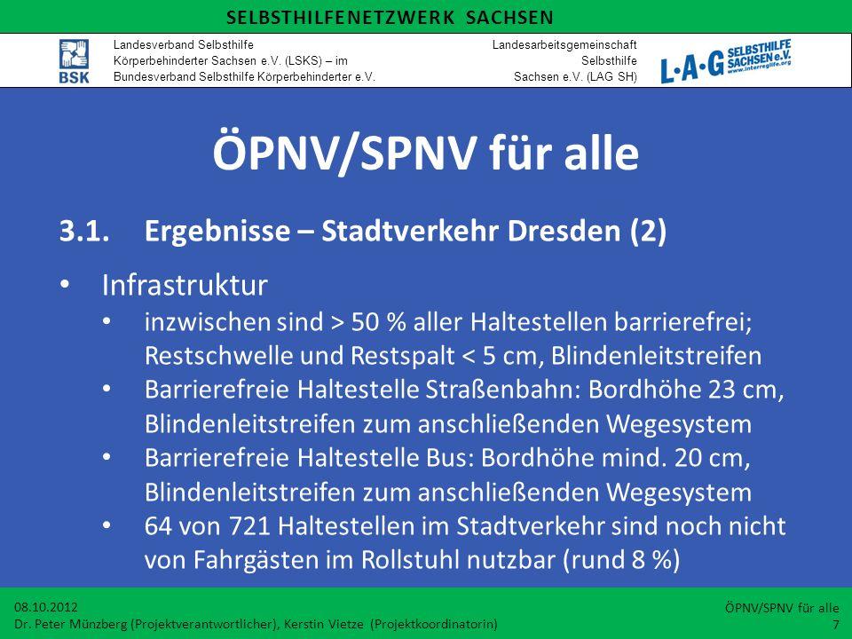 ÖPNV/SPNV für alle 3.1.Ergebnisse – Stadtverkehr Dresden (2) Infrastruktur inzwischen sind > 50 % aller Haltestellen barrierefrei; Restschwelle und Re