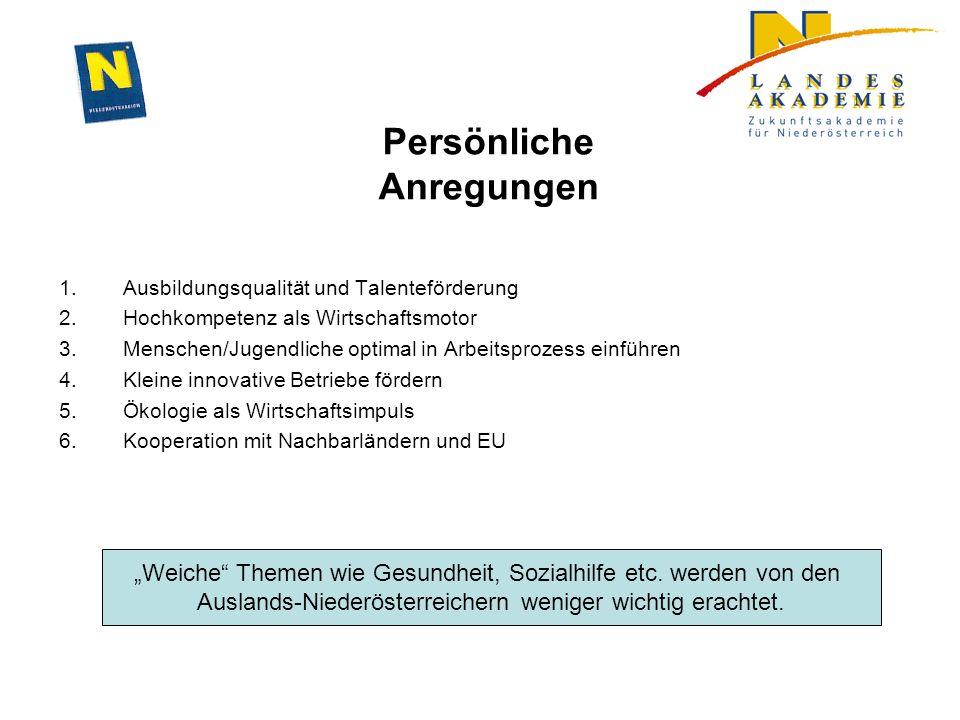 Persönliche Anregungen 1.Ausbildungsqualität und Talenteförderung 2.Hochkompetenz als Wirtschaftsmotor 3.Menschen/Jugendliche optimal in Arbeitsprozes