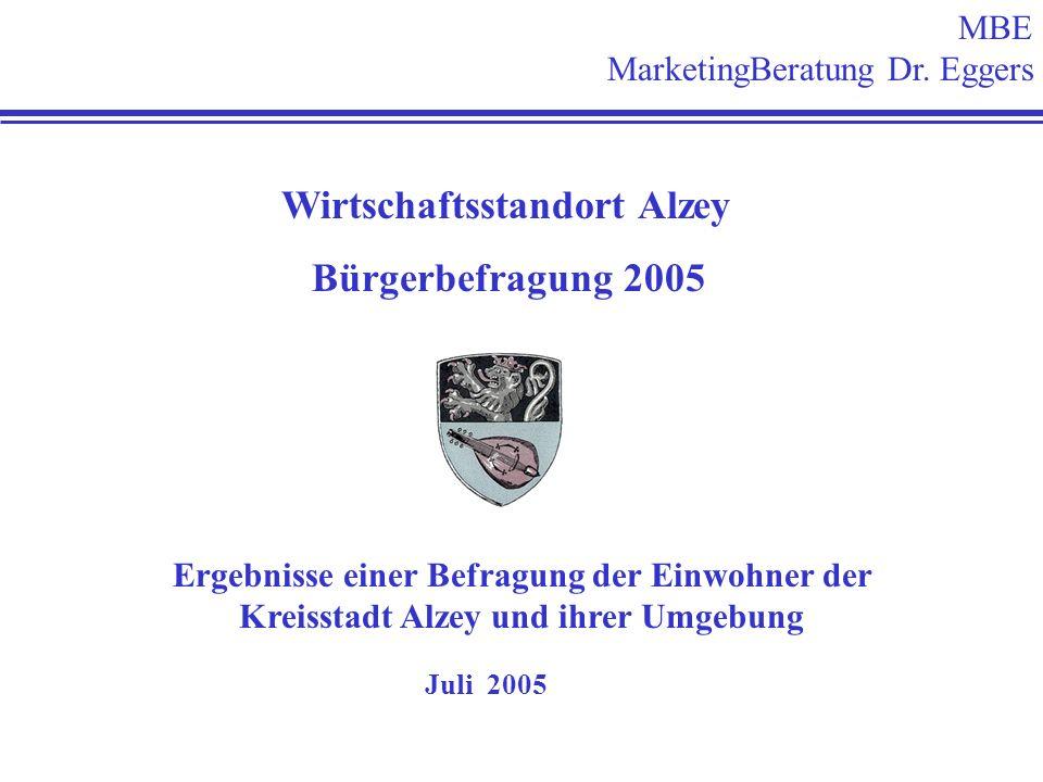 MBE MarketingBeratung Dr. Eggers Wirtschaftsstandort Alzey Bürgerbefragung 2005 Ergebnisse einer Befragung der Einwohner der Kreisstadt Alzey und ihre