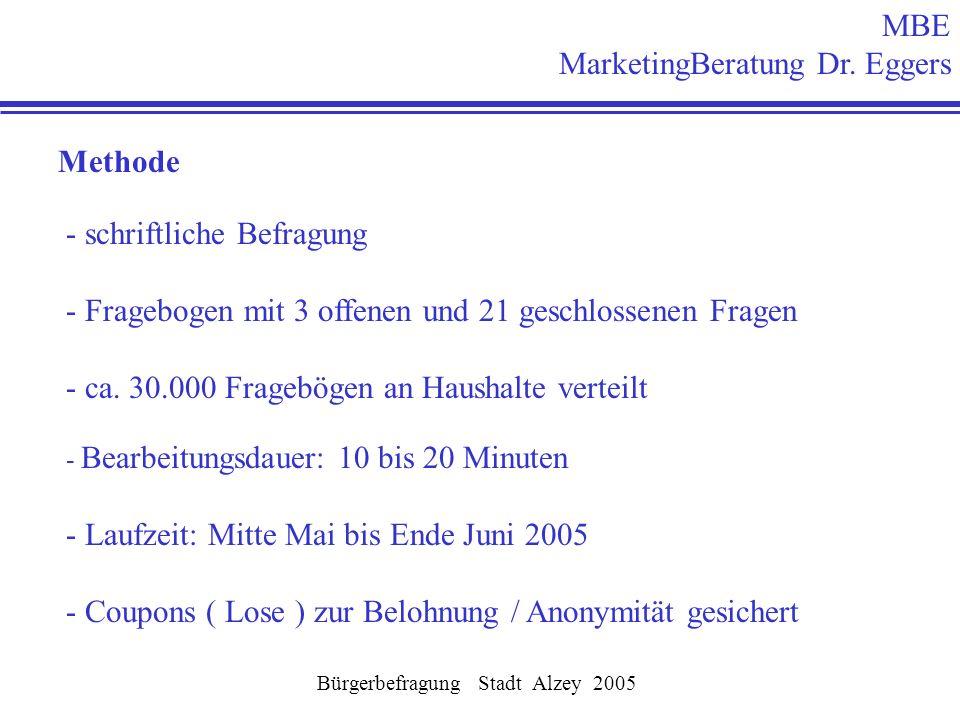 Methode - schriftliche Befragung - Fragebogen mit 3 offenen und 21 geschlossenen Fragen - ca. 30.000 Fragebögen an Haushalte verteilt - Bearbeitungsda