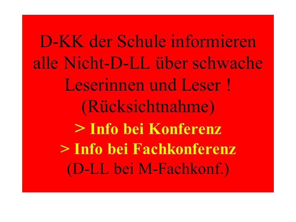 D-KK der Schule informieren alle Nicht-D-LL über schwache Leserinnen und Leser .