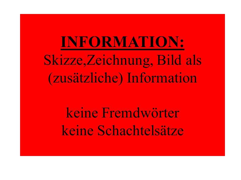 INFORMATION: Skizze,Zeichnung, Bild als (zusätzliche) Information keine Fremdwörter keine Schachtelsätze