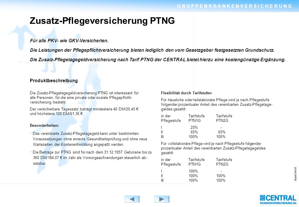 Stand 04.01 Zusatz-Pflegeversicherung PTNG Für alle PKV- wie GKV-Versicherten.
