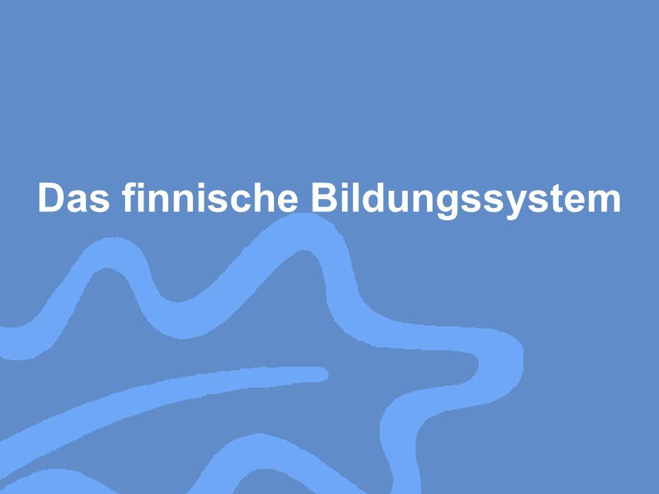Das finnische Bildungssystem setzt sich aus einer neunjährigen Grundbildung (Gesamtschule), der ein Jahr freiwilliger Vorschulunterricht vorausgegangen sein kann, der weiterführenden Schulbildung, bestehend aus beruflicher Bildung einerseits und Allgemeinbildung andererseits, sowie der Hochschulbildung zusammen, die an Universitäten und Fachhochschulen vermittelt wird.